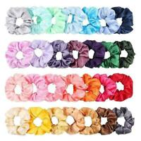 40PCS Hair Scrunchies Satin Elastic Bands Scrunchy color Ropes Ties Girls M N8L1