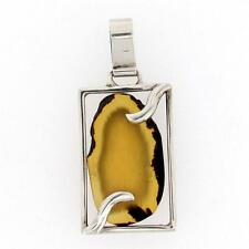 Gold Amber Pendant Sterling Silver .925 Necklace Jewelry