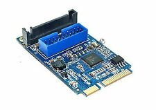 Mini Pci-express to USB 3.0 Header Card With Dual 19pin Type-a Femal Ports Cable