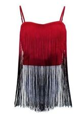Dip DYE RED BLACK  Ombre Fringe BUSTIER Crop Top tank Polyester S M L