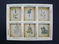 Herb Garden Stitchery Wood Window Frame Plaque Shabby Country Cottage Chic  NEW