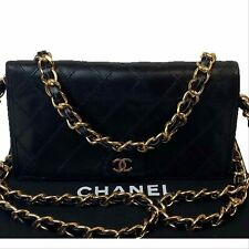 AUTHENTIC CHANEL Black Leather Quilted Long Wallet~US SELLER