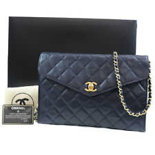 Chanel Imbottito Matelasse Borsa a Spalla pelle Blu Scuro Vintage Italia Auth #