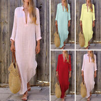 UK Women Long Sleeve Casual Boho Kaftan Tunic Cotton Linen Maxi Dress Plus Size