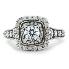 Engagement Ring 14k White Gold Over Art Deco 1.00Ct Round Moissanite Double Halo
