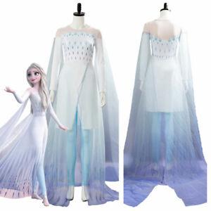 Frozen 2 Ice Gown Queen Elsa Ahtohallan Cave Cosplay Costume Adult & Kid's Dress