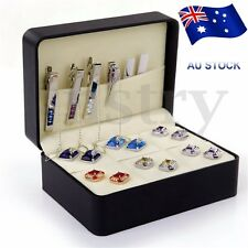 PU Leather Cufflinks Display Storage Case Jewelry Box Tie Clip Organizer Holder
