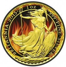 2015 Burning UK Britannia- 1 Oz Fine Silver Coin - Ruthenium And 24K Gold....