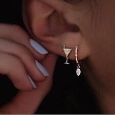 2 PCS Women Crystal Rhinestone Dangle Gold Goblet Ear Stud Earring Jewelry Gift