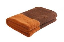 "Handmade Orange/Brown 100% Merino Wool 41"" X 60"" Throw Blanket Made in Ireland"