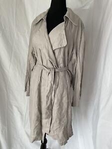 Cynthia Rowley 100% Linen Trench Coat, Jacket Beige, Size XL NWT