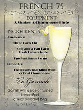 Cocktail francese 75, Retro Metallo Placca, pub bar cucina shabby chic regalo