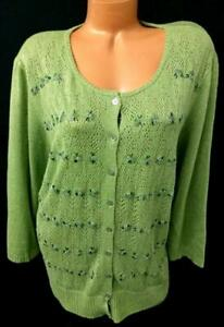 Sigrid Olsen green floral beaded 3/4 sleeves buttoned down cardigan sweater 3X