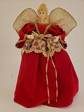 """12"""" Tree Top Angel with Burgundy Maroon with Gold Dress Porcelain Hands & Head"""