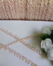 7 MM Light Pink  / White Matte Loop Shell Fringe Edge Gimp Trims-5 Yards-T945