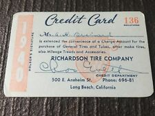 1940 Paper Credit Card Richardson Long Beach Ca General Tires Oil Gas Station