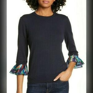 NEW TED BAKER LONDON CONTRASTING SLEEVE SWEATER BLOUSE SIZE 2/4 NWT $209