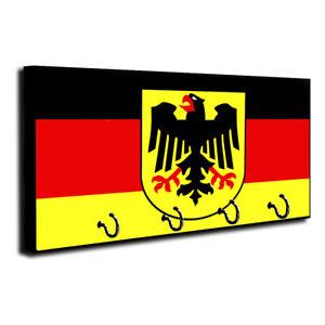 Germany Country Flag Design Wood Key Hanger Dog Leash Holder