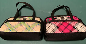 2 Nintendo DS Lite Pink Plaid & Green Purse Handbag Game Carrying Travel Case