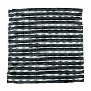SANTOSTEFANO Handmade Striped Woven Black Silk Pocket Square Handkerchief $150