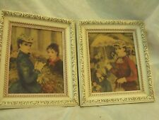 "Vtg framed art, Prints on Board, Ladies w Hats,1940's-50's, orig. frames 8 x 10"""