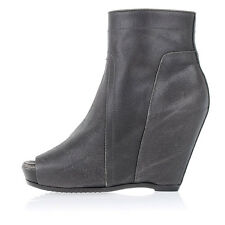 RICK OWENS New Woman Gray Leather PEETOE WEDGE Booties Boots Shoes 41 ita $1152