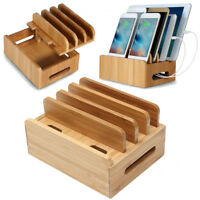 Bamboo Multi-device Smartphone Tablet iPad Organizer Stand Charging Station Dock