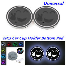 2x 7 Color LED USB Charger Car Cup Holder Bottom Pad Atmosphere Lamp Waterproof