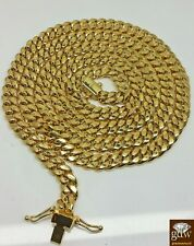 "Real 14K Yellow Gold Men Miami Cuban Chain Necklace 28"" inch,7mm,Box lock Rope N"
