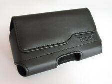 For Motorola E4 Premium Black Leather Holster Pouch Case Cover Belt Clip
