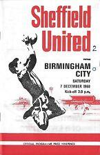 Football Programme>SHEFFIELD UNITED v BIRMINGHAM CITY Dec 1968