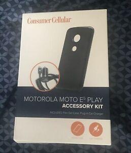 Consumer Cellular Motorola Moto E5 Play Accessory Kit Car Charger & Gel Case