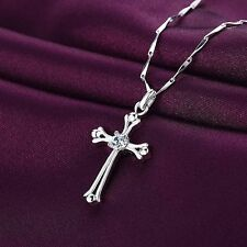 Women Men Jewelry Cross Shaped Pendant Crystal Necklace Silver Plated