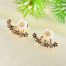 Simple Design Crystal Flower Stud Earrings For Women Fashion Jewelry Front&Back