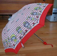 "Vintage 80s Girl Childs Umbrella RED Plastic Handle ""Happy Friends Hello"" Stripe"