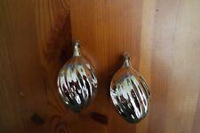 2 große Zapfen Silber Christbaumschmuck Weihnachtskugel,Mundgeblasen Lauscha