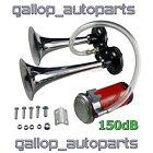 2 Trumpet Air Horn Kit 12 V 150DB Chrome for Car Truck RV Train Boat Automobile