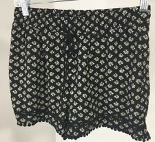 ABOUT A GIRL WOMEN'S FLORAL SLEEP SHORTS BLACK/IVORY SMALL NWT $36