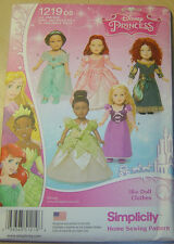 """New Simplicity pattern 1219 18"""" American Girl Doll Disney Princess Outfits"""