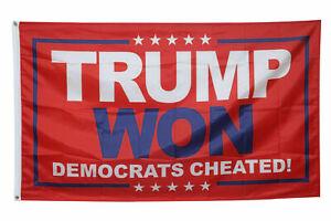 TRUMP WON BANNER 2 BRASS GROMMETS MAGA NATION AMERICAN USA Red Flag 3x5 Feet