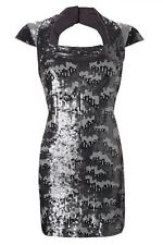 DESIGNER FRENCH CONNECTION SILVER FOREST GREY PEWTER SEQUIN SHIFT DRESS 6 8