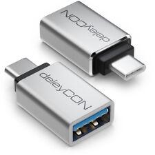 deleyCON 2x USB-C OTG Adapter Handy Smartphone Tablet USB A auf USB C Stecker