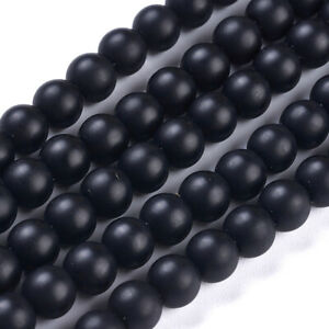 10 Strd Synthetic Black Stone Round Beads Frosted Mini Gemstone Loose Spacer 6mm