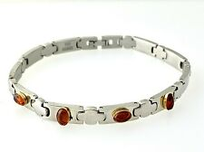 Natural Gemstones Amber Bracelet Stainless Steel & 18k Yellow Gold  #12A
