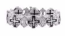 Men's Cross Stainless Steel Christian Jesus Religious Halo Bracelet God Bible