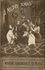 Christmas - Father in Santa Claus IGNORANCE IS BLISS c1910 Postcard