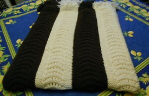 "Retro Brown Cream  Knitted 3"" Fringed  Rectangle Afghan 54X40"