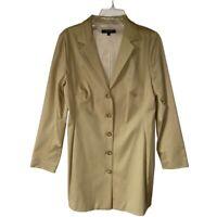 Karen Kane Lifestyle Womens Long Blazer Jacket Beige Stretch Single Vented L New