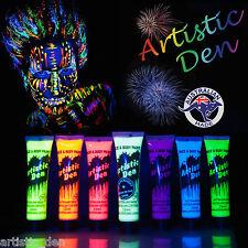 7 x 15ml- UV Glow Neon Face Body Paint Black Light Fluoro Party Glow in Dark