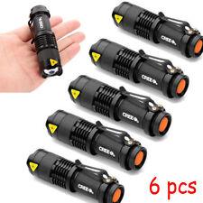 6 Piezas Cree Q5 LED linterna antorcha 7w 1200LM Foco Ajustable Zoom Luz Lámpara